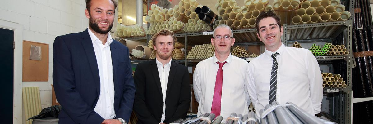 Will Alloway, Henry Lloyd Williams with Andy States (Custom Composites) and David Conlon from Attwater Group
