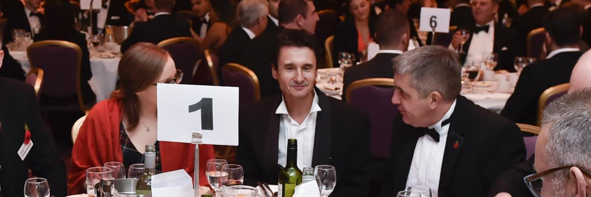 Dominic James - Centre- At the Awards Dinner in 2016