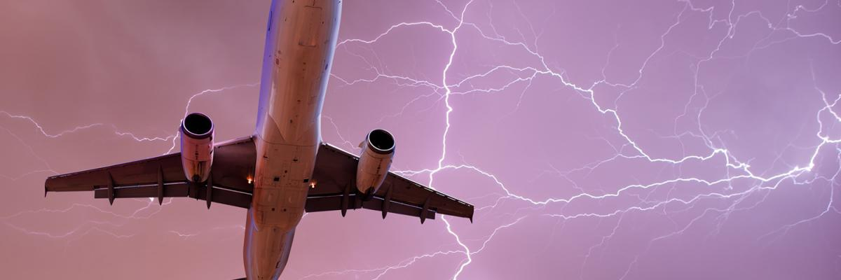 Lightning striking a plane