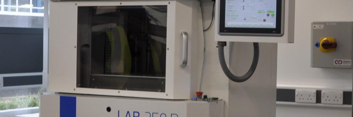 The LAB 250P press in the Graphene Engineering Innovation Centre
