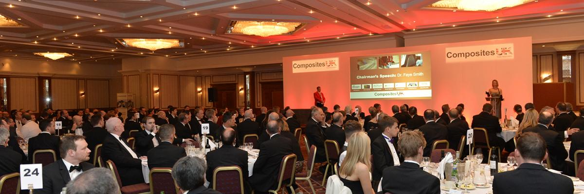 Attendees at the Composites UK dinner in 2017 listening to the opening address by then Chairman, Faye Smith